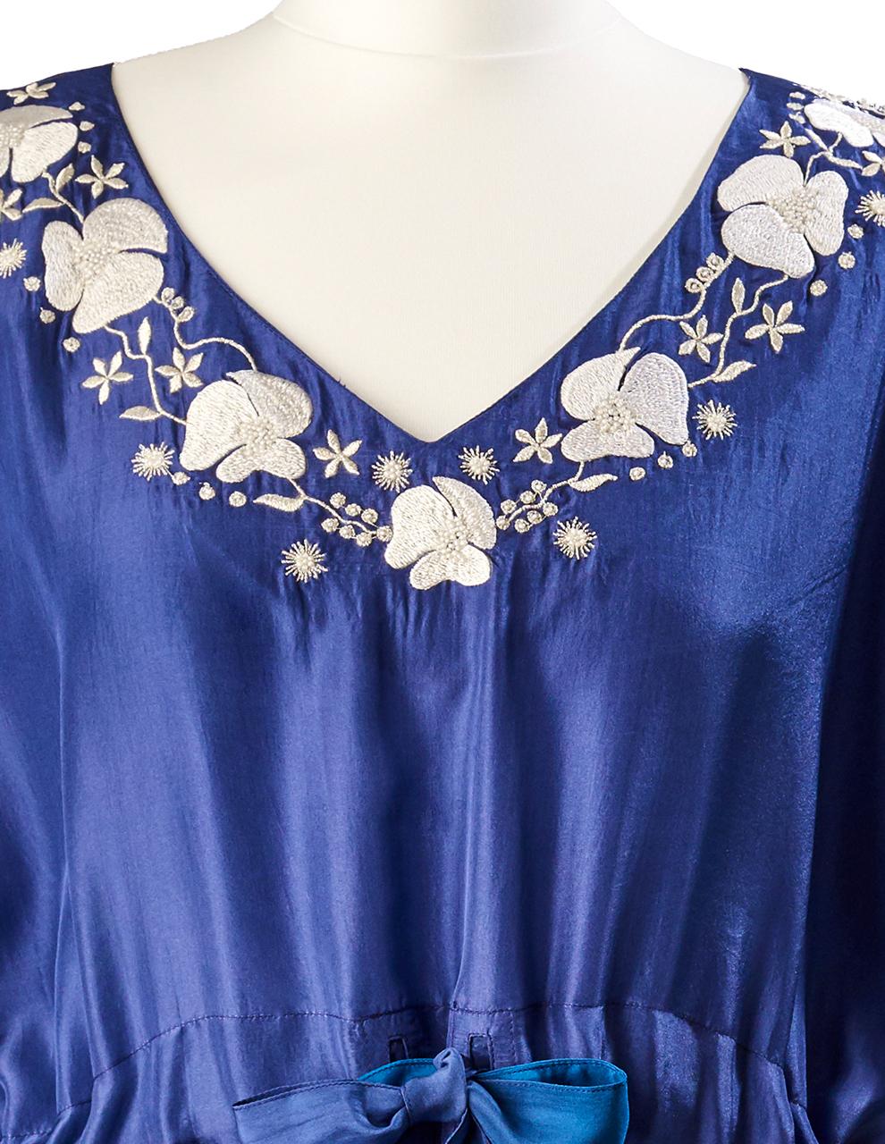 Ocean Ombre Poppy Embroidered Silk Kaftan