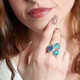 Apatite, Turquoise And Azurite Gemstone Adjustable Sterling Silver Ladies Ring