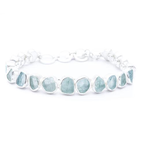 Aquamarine Gemstone Chunky Handmade Sterling Silver Ladies Bracelet