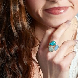 Aquamarine, Opal And Turquoise Gemstone Adjustable Sterling Silver Ladies Ring