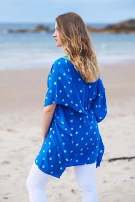 Bright Blue Silk Hand Dyed Bandhani Kaftan