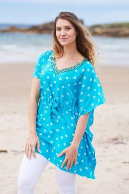 Turquoise Silk Hand Dyed Bandhani Kaftan