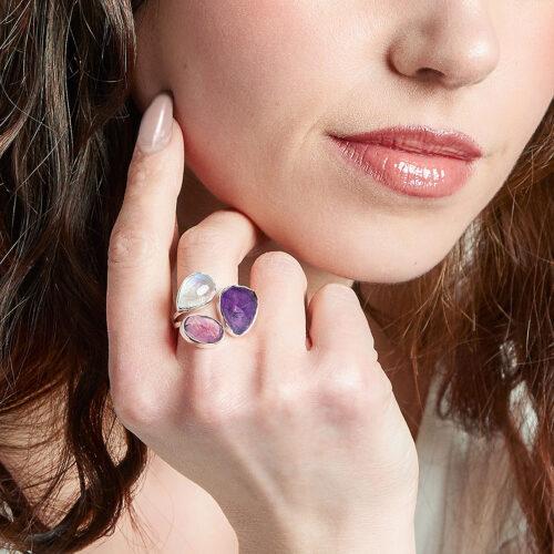 Ruby, Moonstone And Amethyst Gemstone Ladies Adjustable Sterling Silver Ring