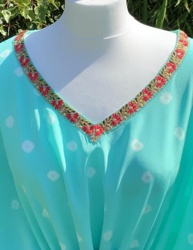 Aquamarine Silk Hand Dyed Bandhani Kaftan