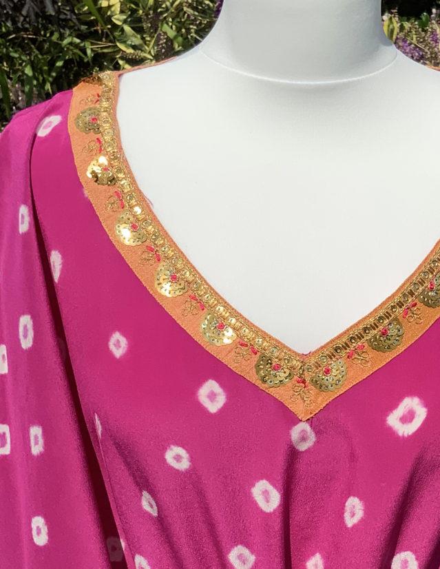 Pink Silk Hand Dyed Bandhani Kaftan