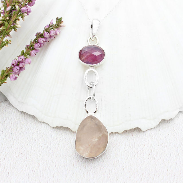 Ruby & Rose Quartz Gemstone Sterling Silver Pendant