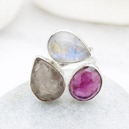 Ruby, Moonstone And Rose Quartz Gemstone Ladies Adjustable Sterling Silver Ring