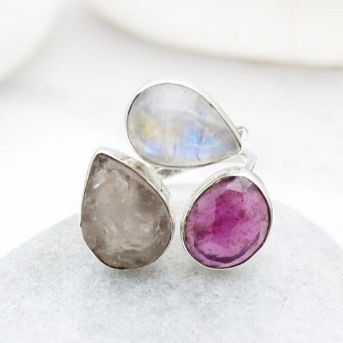 Ruby, Moonstone And Rose Quartz Gemstone Ladies Adjustable Sterling Silver Ring