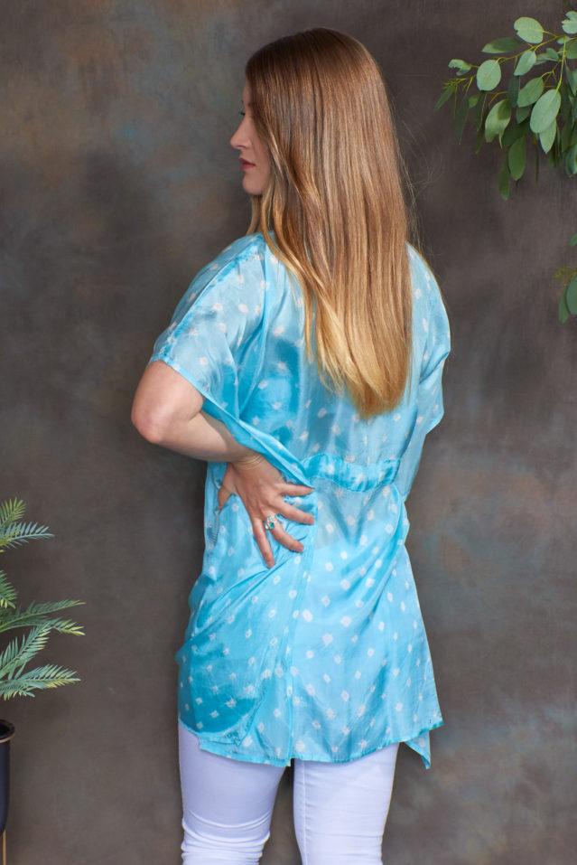 Aquamarine Blue Luxury Silk Embroidered Kaftan Tunic