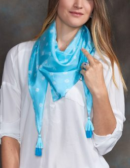 Aquamarine Luxury Silk Hand Dyed Scarf