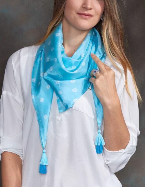 Aquamarine Luxury Silk Hand Dyed Scarf