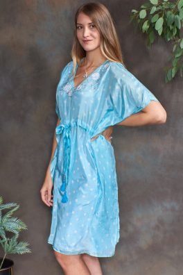 Aquamarine Blue Luxury Silk Embroidered Kaftan Dress
