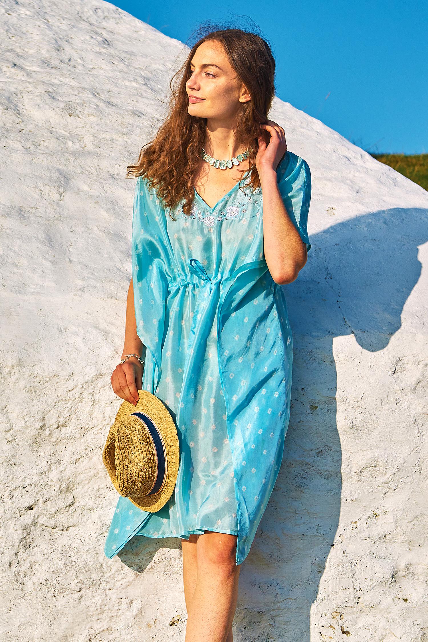 Aquamarine Blue Luxury Silk Embroidered Kaftan Dress