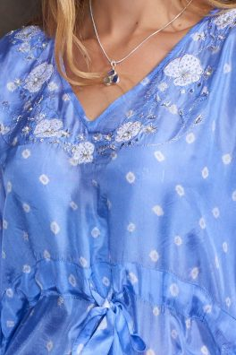 Lavender Blue Luxury Silk Embroidered Kaftan Tunic
