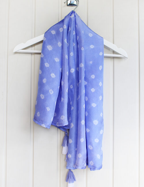 Cornflower Blue Luxury Silk Hand Dyed Scarf