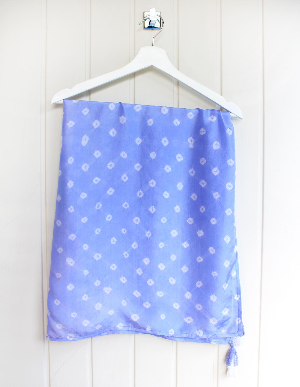 Cornflower Blue Luxury Silk Hand Dyed Scarf