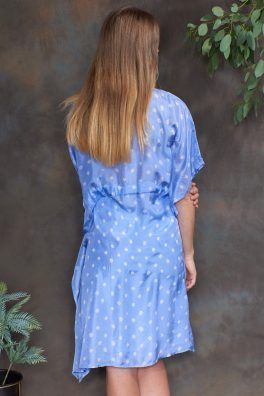Cornflower Blue Luxury Silk Embroidered Kaftan Dress