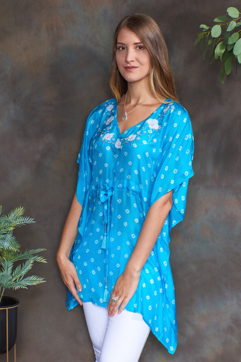 Turquoise Luxury Silk Embroidered Kaftan Tunic