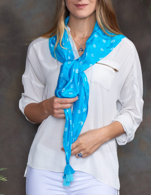 Turquoise Luxury Silk Hand Dyed Scarf