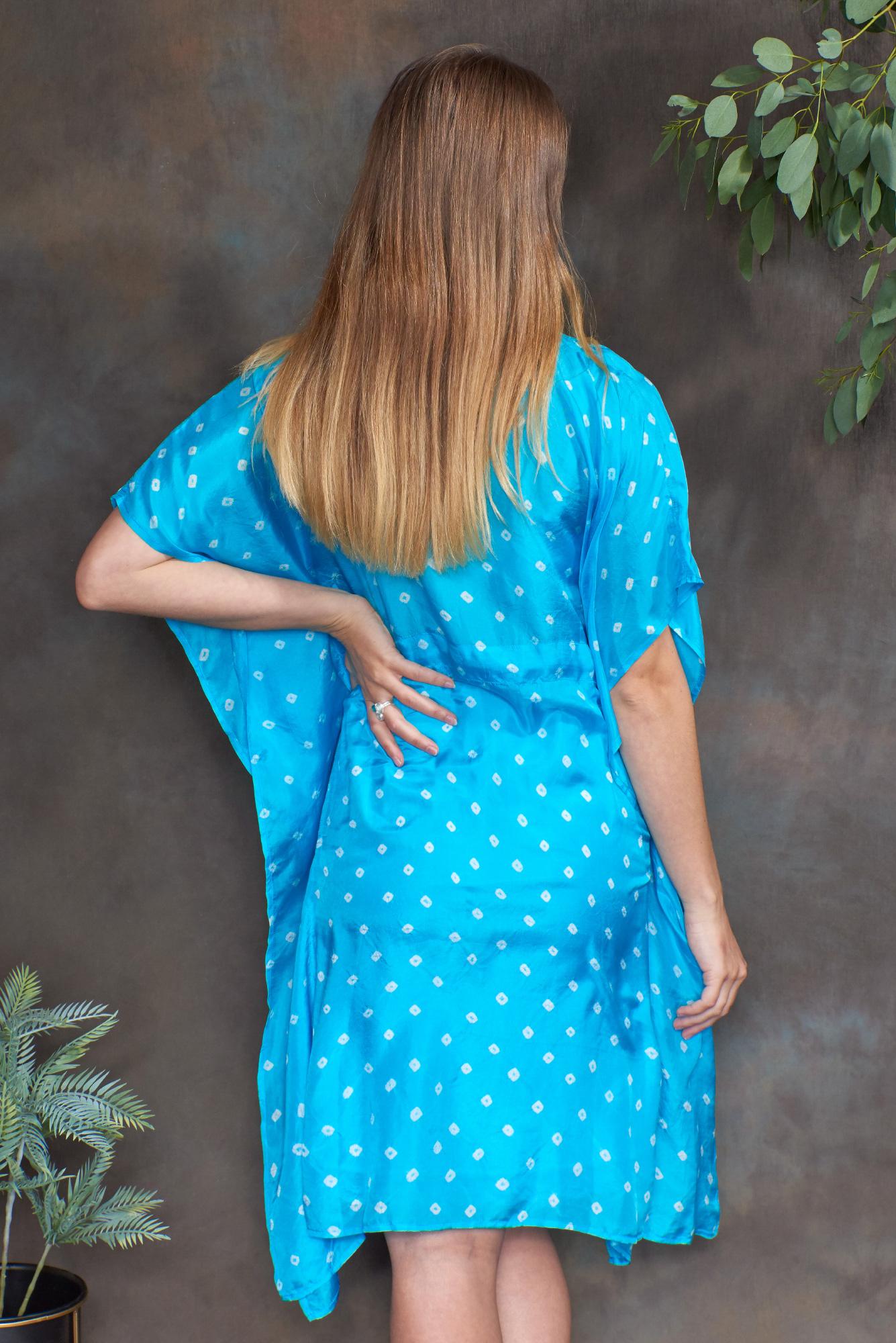Turquoise Luxury Silk Embroidered Kaftan Top