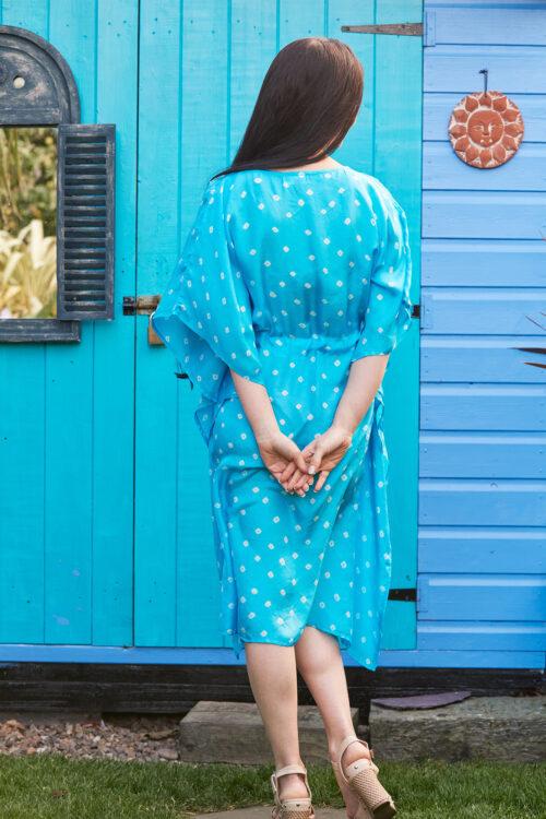 Turquoise Luxury Silk Embroidered Kaftan Dress