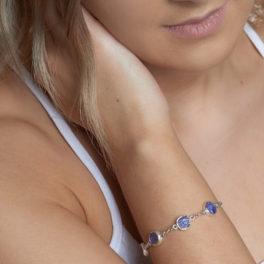 Tanzanite Gemstone Sterling Silver Handmade Ladies Bracelet