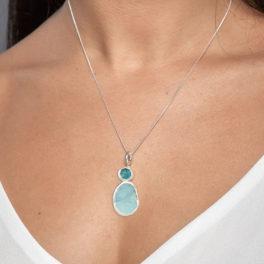 Aquamarine & Apatite Gemstone Sterling Silver Pendant