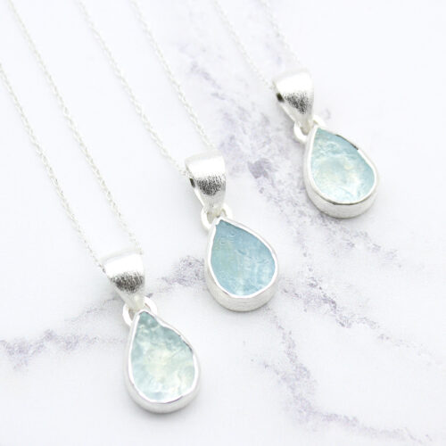 Aquamarine Gemstone Handmade Sterling Silver Pendant