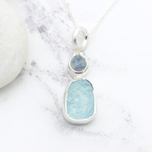 Aquamarine & Moonstone Gemstone Sterling Silver Pendant