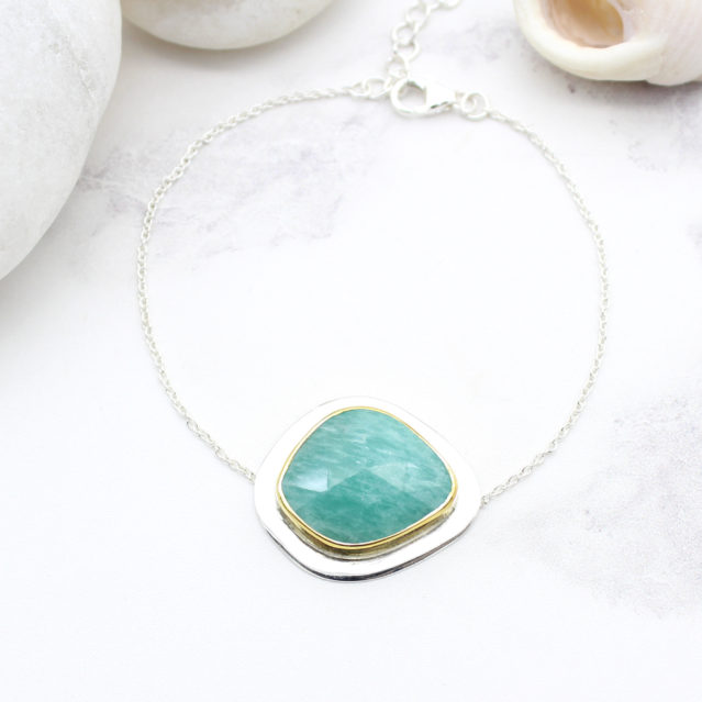 Amazonite Gemstone Handmade Sterling Silver Bracelet