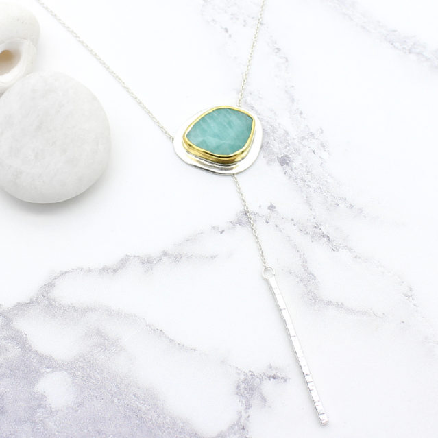 Amazonite Gemstone Sterling Silver Lariat Necklace