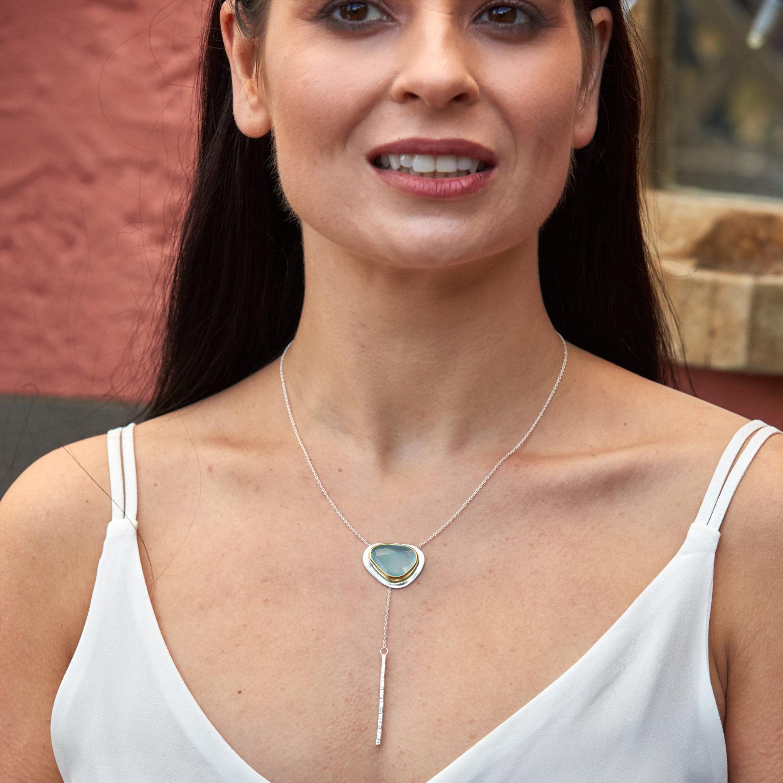 Aqua Chalcedony Gemstone Sterling Silver Lariat Necklace