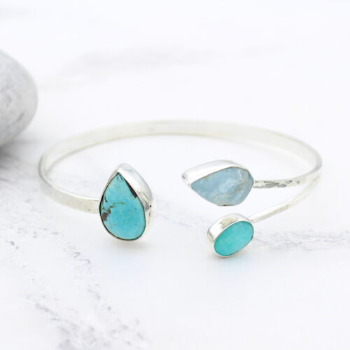 Aquamarine, Amazonite & Turquoise Gemstone Sterling Silver Bangle