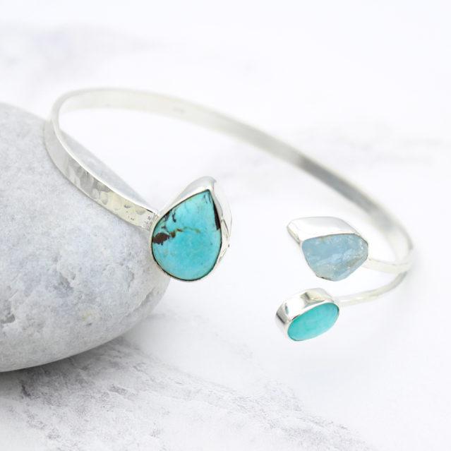 Aquamarine, Amazonite & Turquoise Gemstone Sterling Silver Bangle