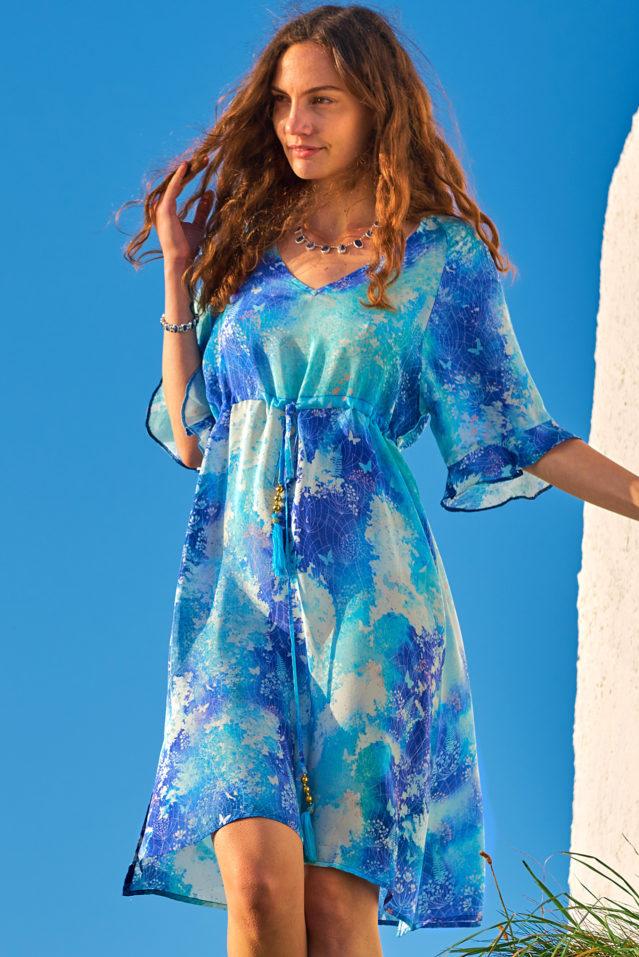 Aquamarine Blue Watercolour Print Silk Dress