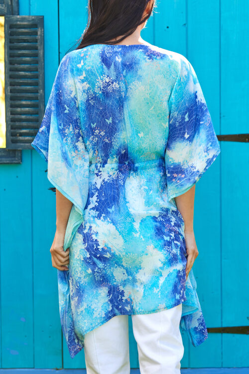 Blue Watercolour Botanical Print Silk Kaftan