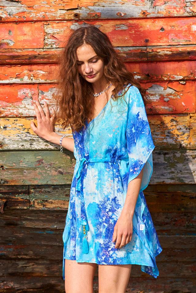 Blue Watercolour Botanical Print Silk Kaftan