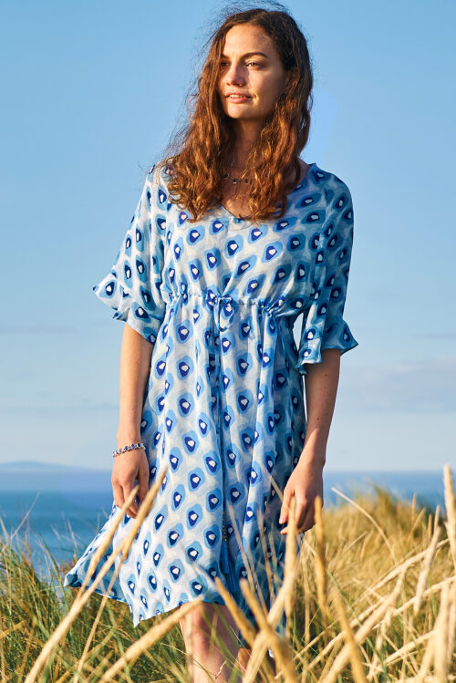 Blue Pebble Print Silk Dress