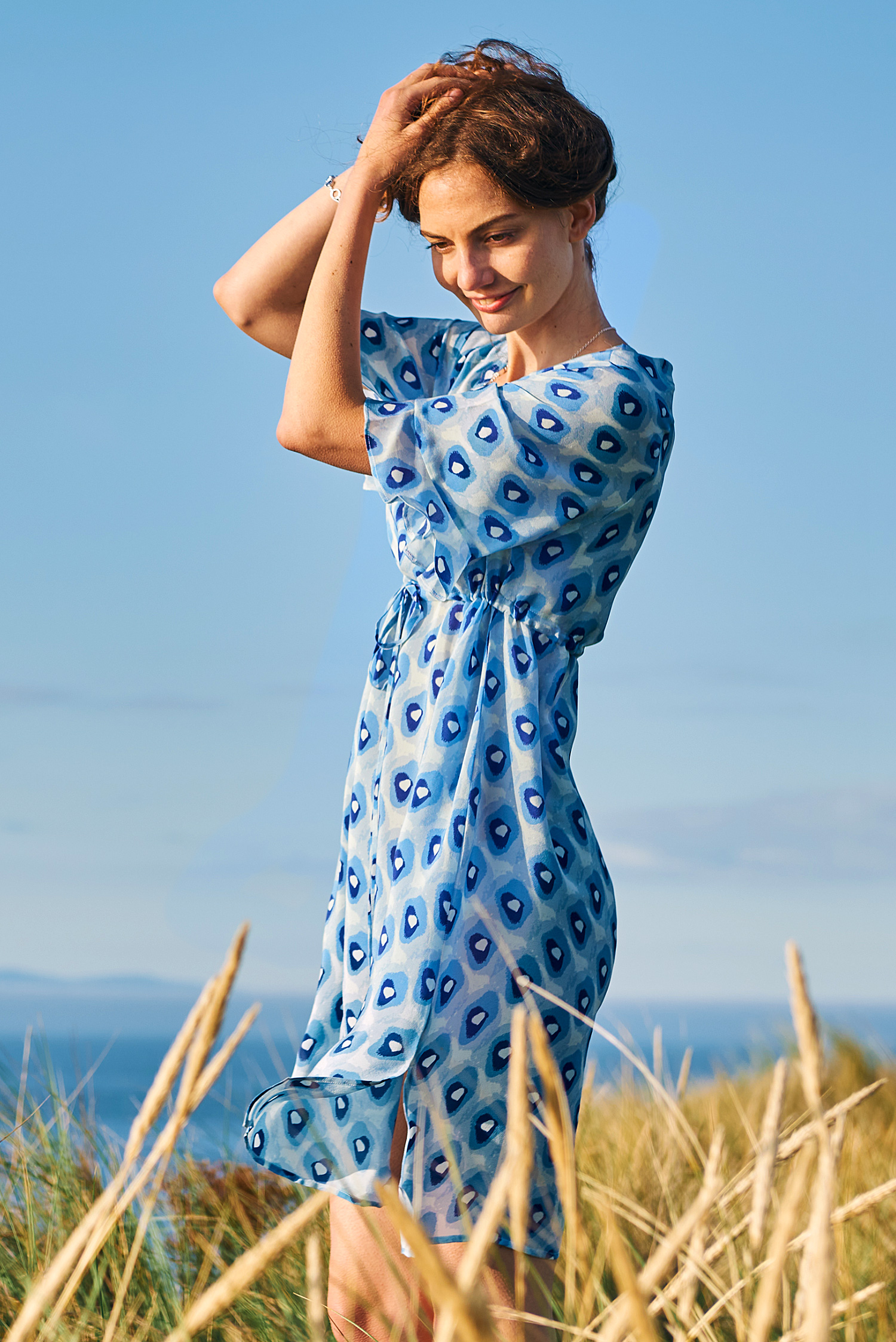 Blue Pebble Print Silk Dress
