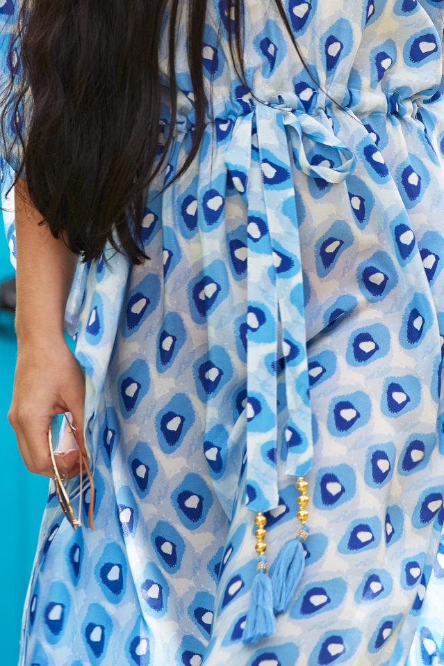 Blue Pebble Print Silk Kaftan