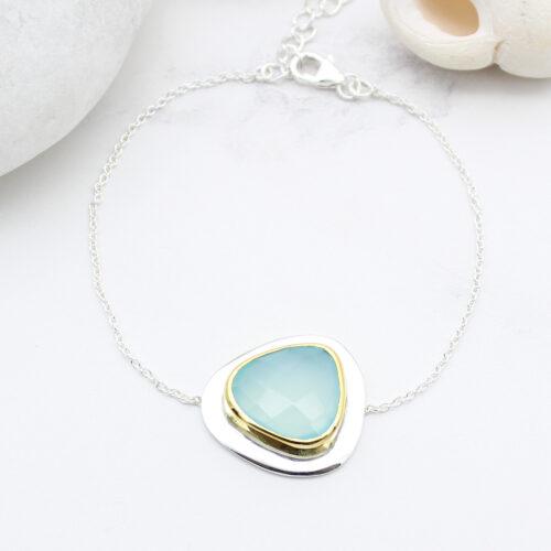 Aqua Chalcedony Gemstone Handmade Sterling Silver Bracelet
