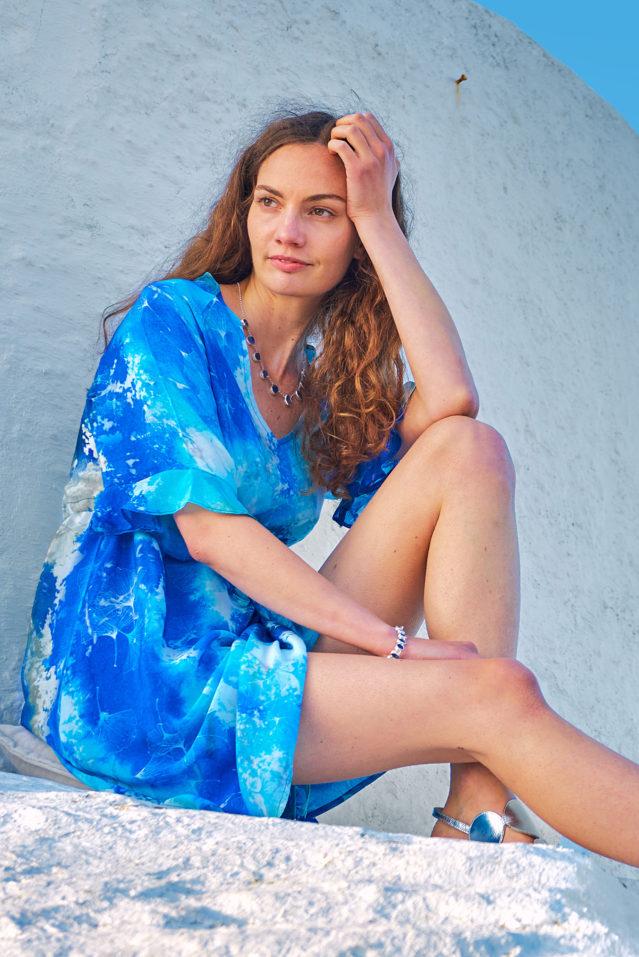 Cobalt Blue Watercolour Print Silk Dress