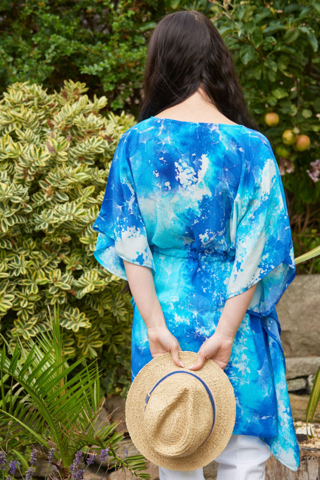 Cobalt Blue Watercolour Print Silk Kaftan