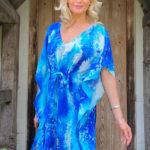 Cobalt Blue Watercolour Print Silk Kaftan