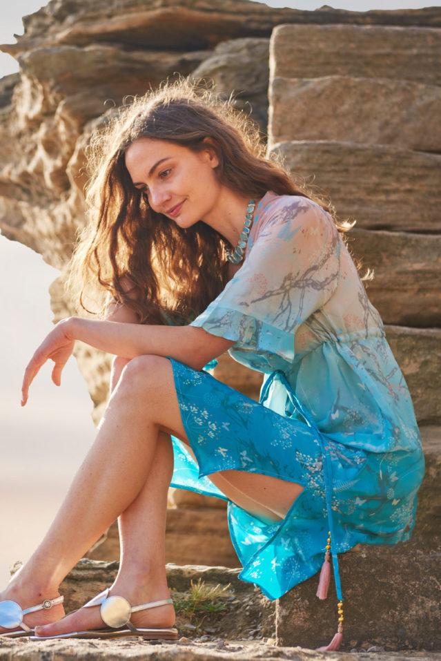Coral Jade Ombre Botanical Print Silk Dress