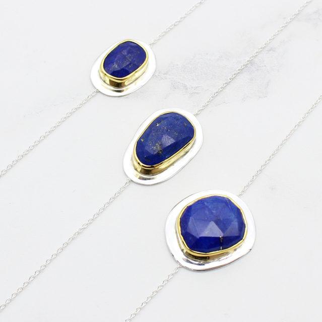 Lapis Lazuli Gemstone Handmade Sterling Silver Bracelet