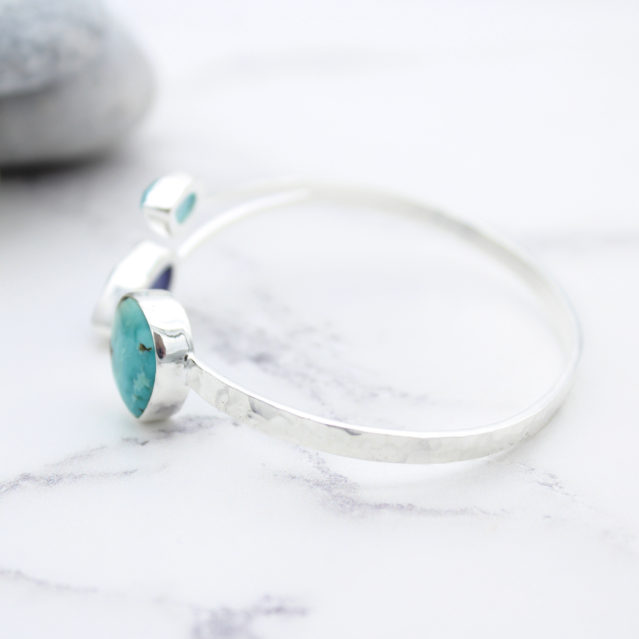 Tanzanite, Turquoise & Chalcedony Gemstone Sterling Silver Bangle