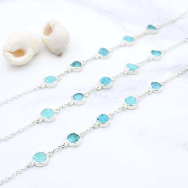 Amazonite, Apatite & Turquoise Gemstone Sterling Silver Bracelet