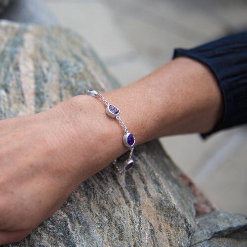 Amethyst Gemstone Sterling Silver Bracelet