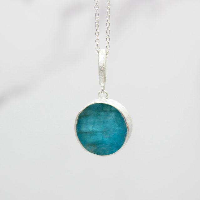 Apatite Gemstone Handmade Ladies Sterling Silver Pendant